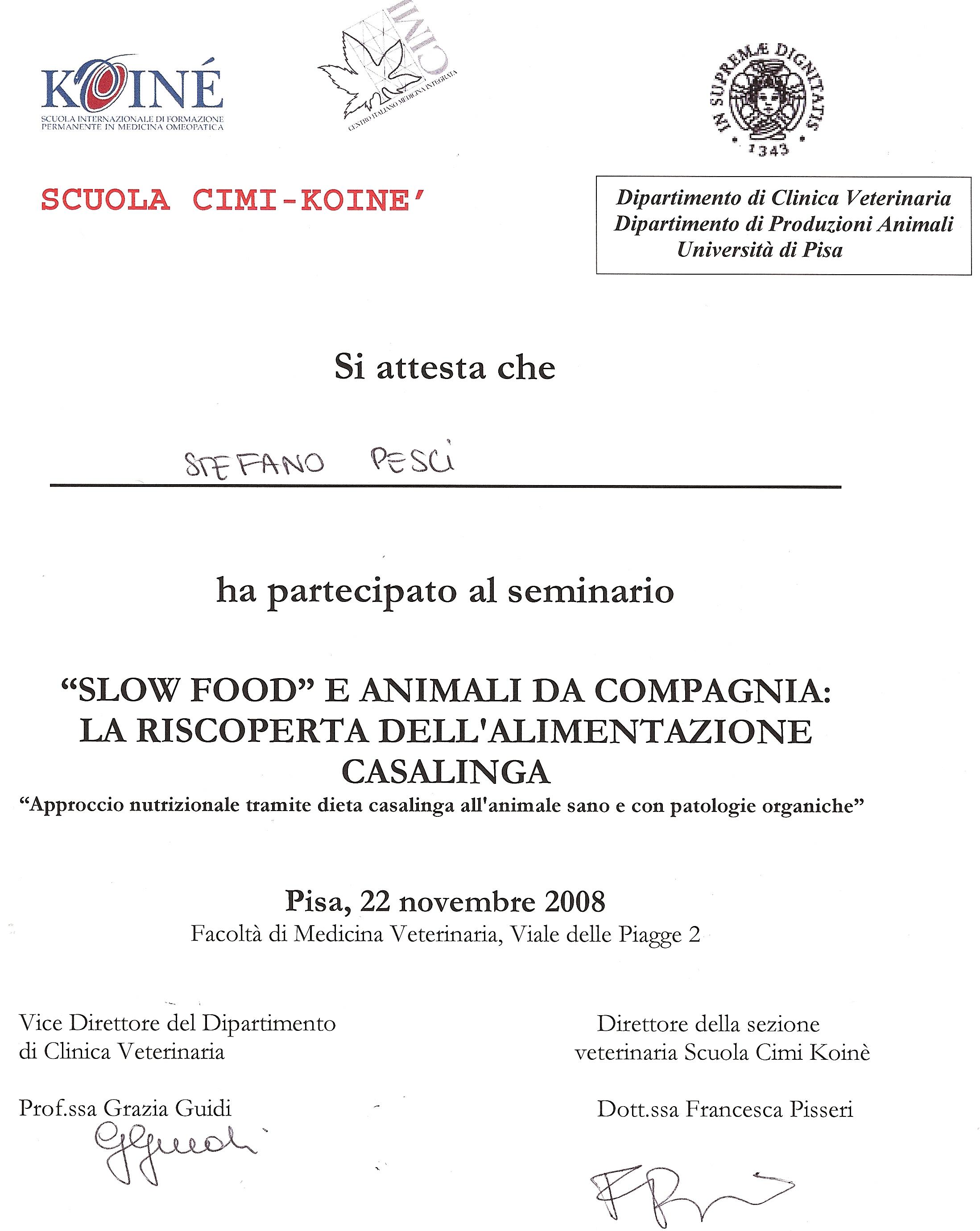 ATTESTATO ALIMENTAZIONE CASALINGA - STEFANO PESCI ITRUTTORE CINOFILO COMPORTAMENTALE