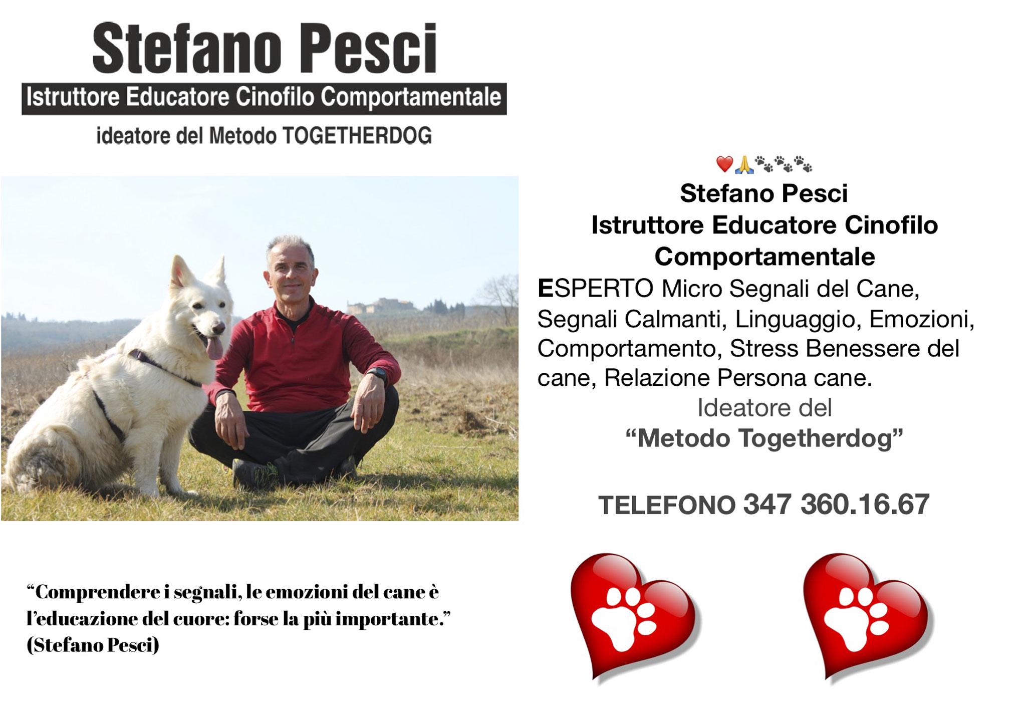 Stefano Pesci istruttore Educatore Cinofilo Comportamentale