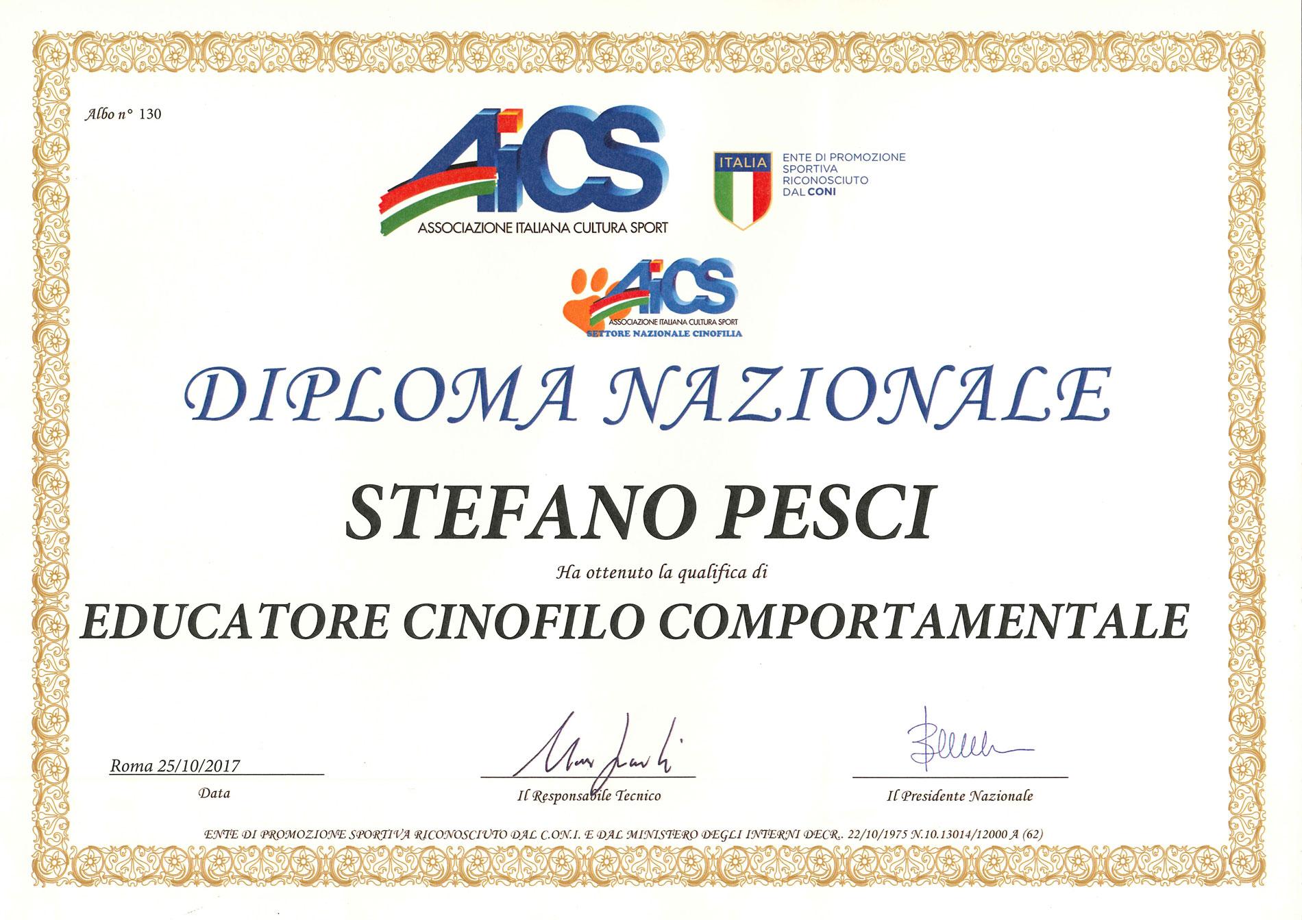 Educatore Cinofilo Comportamentale - Stefano Pesci