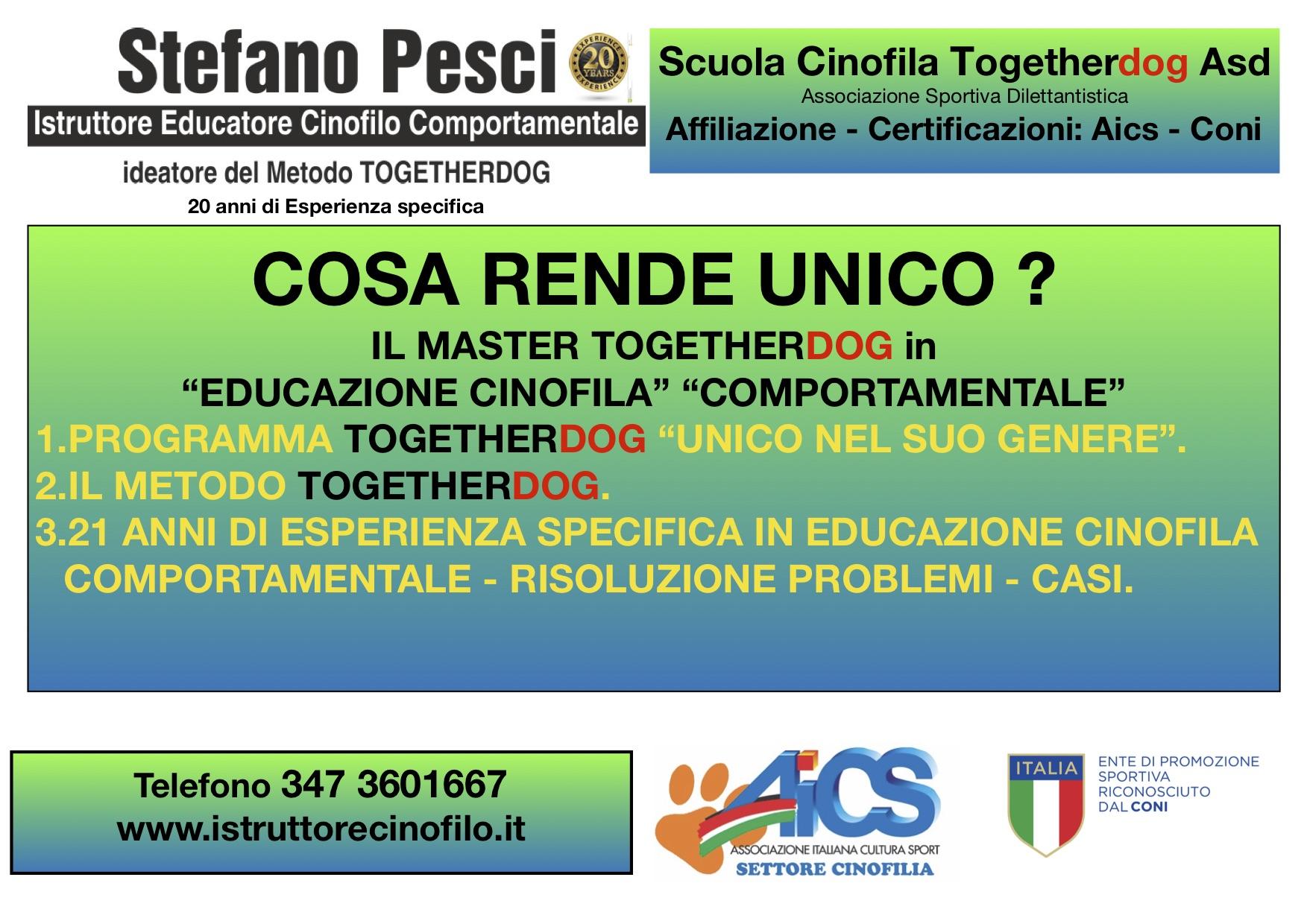 master educatore cinofilo comportamentale Togetherdog Stefano Pesci