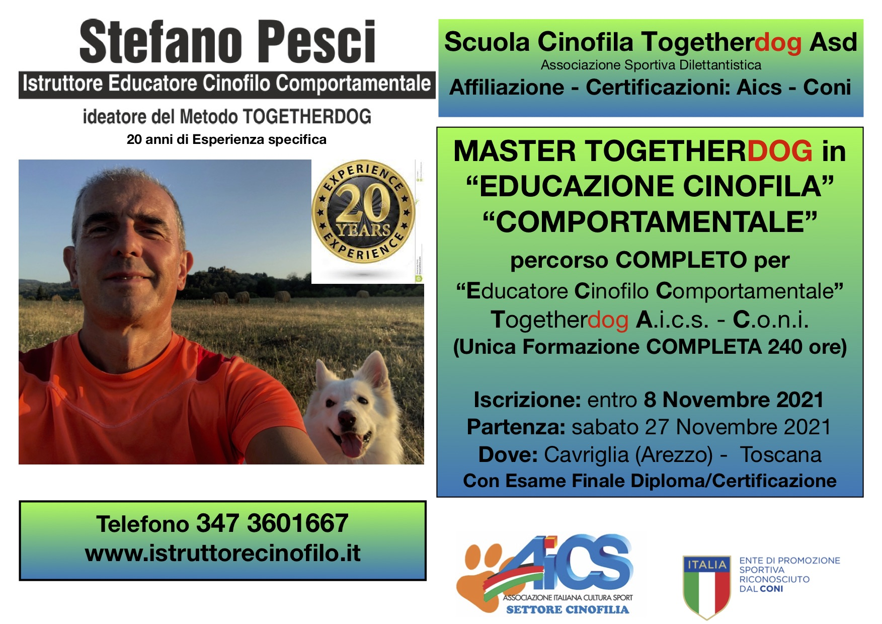 MASTER TGETHERDOG EDUCAZIONE CINOFILA COMPORTAMENTALE PERCORSO EDUCATORE CINOFILO COMPORTAMENTALE