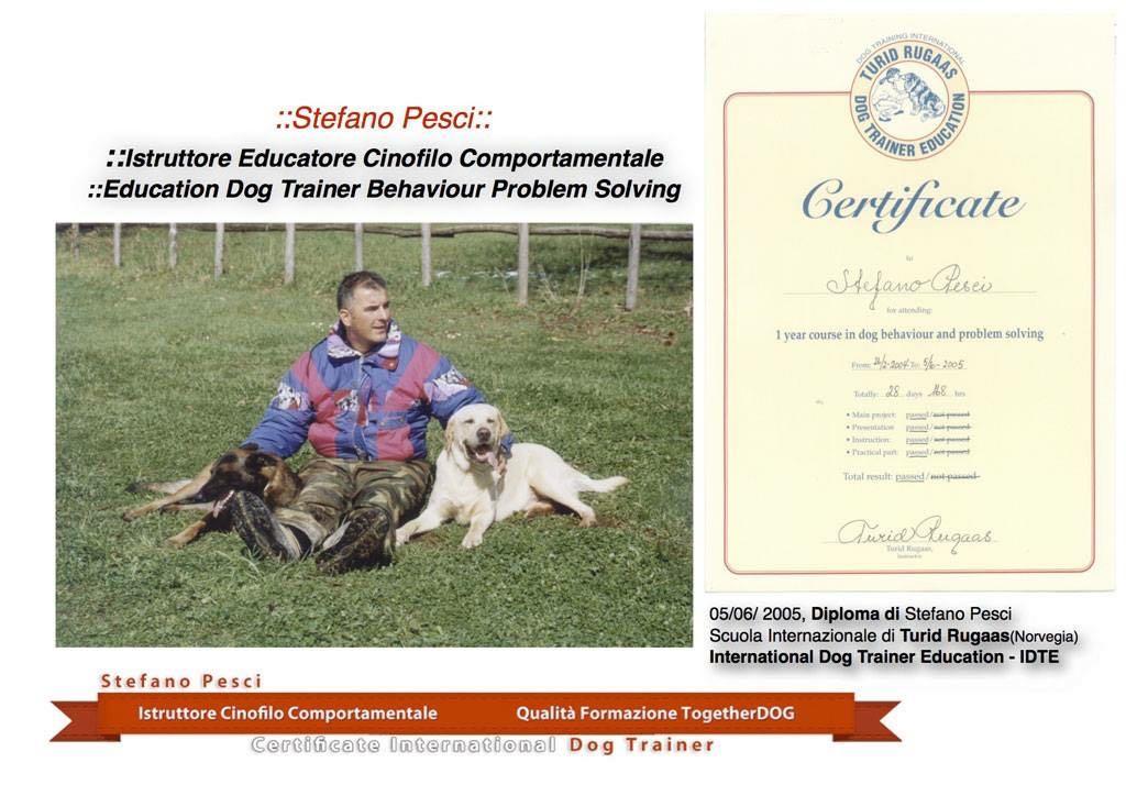 DIPLOA STEFANOPESCI ISTRUTTORE CINOFILO COMPORTAMENTALE TURID RUGAAS